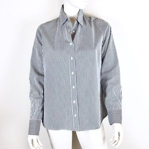 J Crew Perfect Shirt Gray white dress pinstripe L